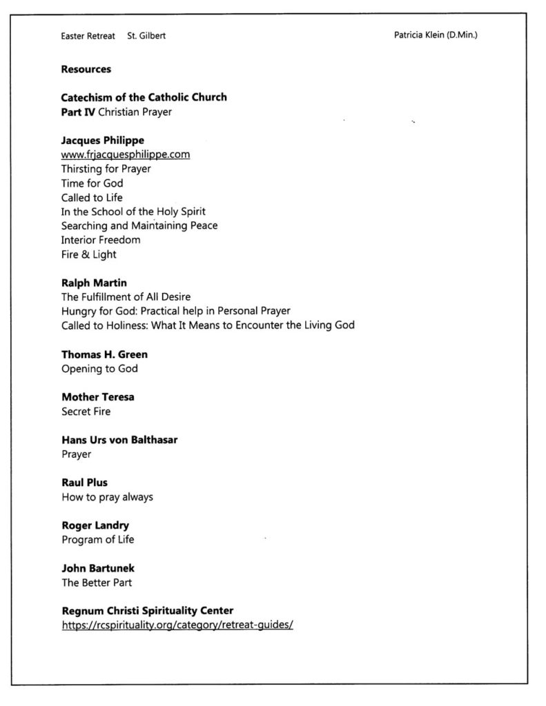 Handout for Resources for St. Gilbert Retreat. Prayer and God #286Z