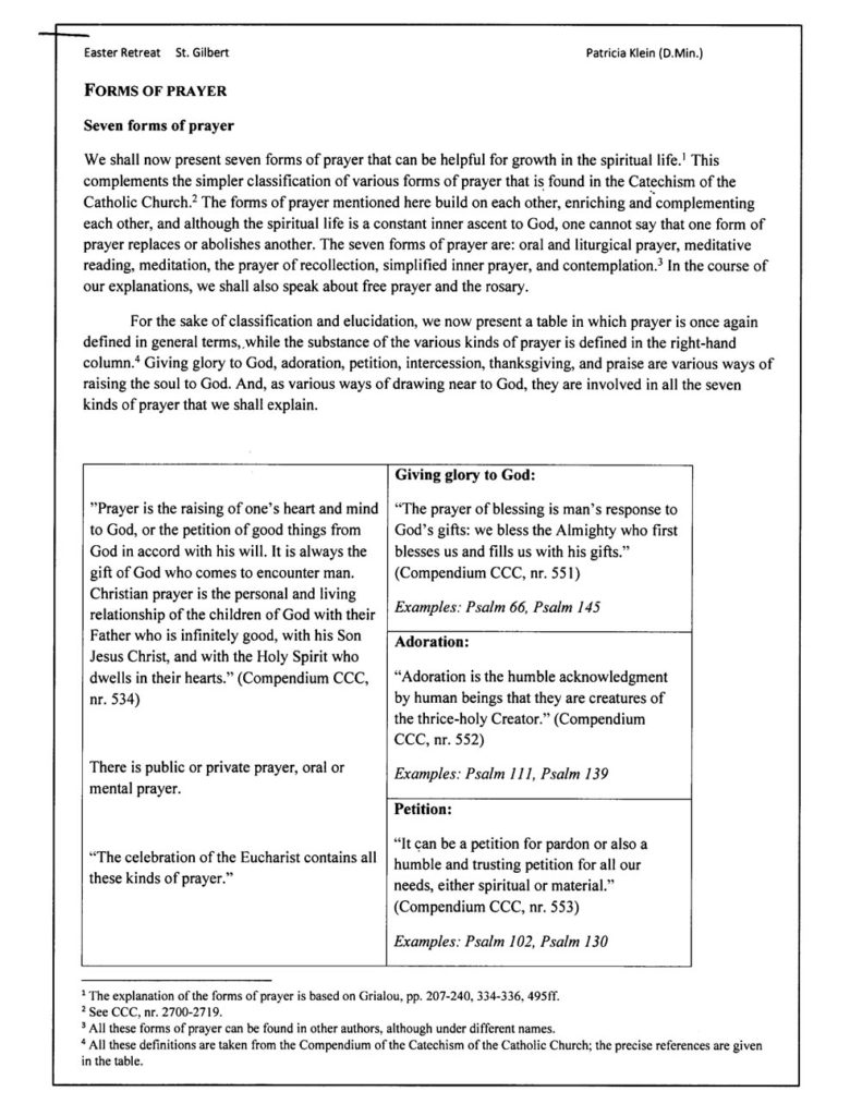 Handout for Forms of Prayer for St. Gilbert Retreat.
