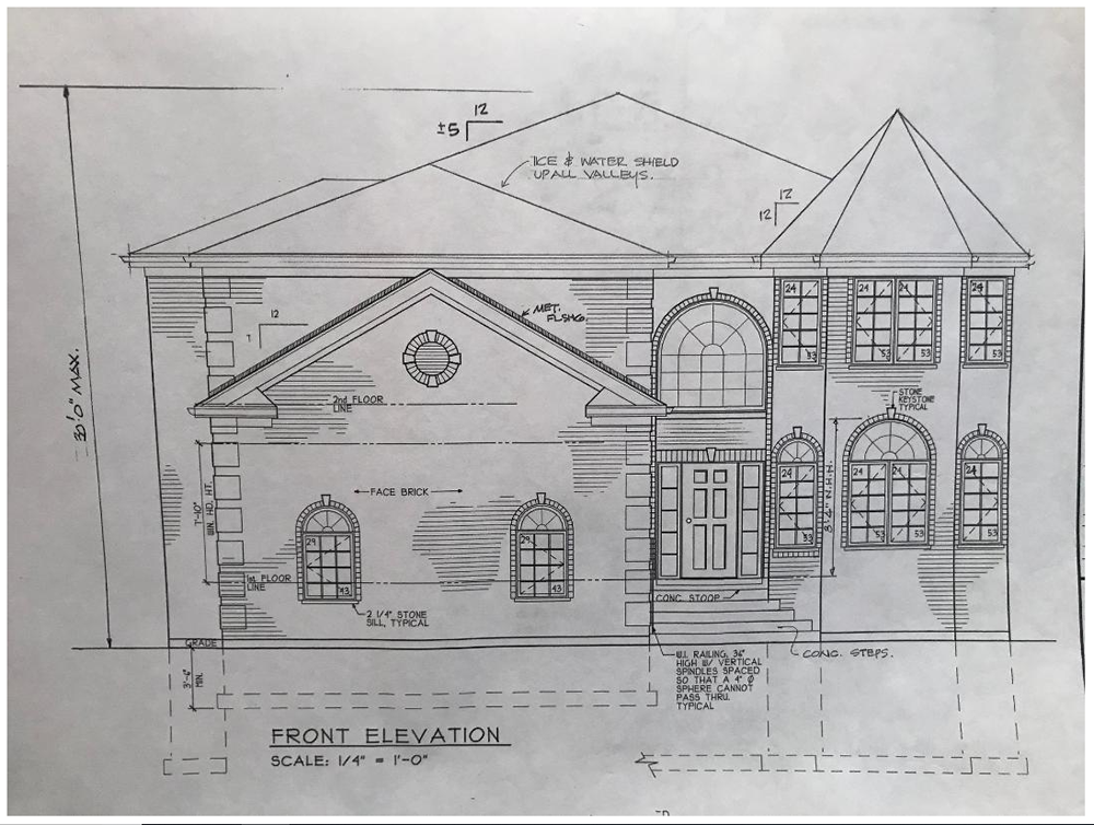 This is an image of Handy Front Elevation Drawing