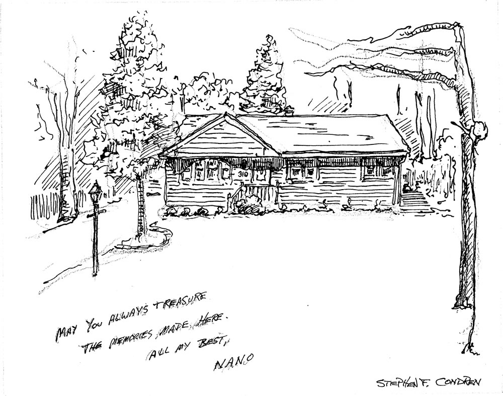 Pen & ink house portrait by artist and United States Navy Veteran Stephen F. Condren.