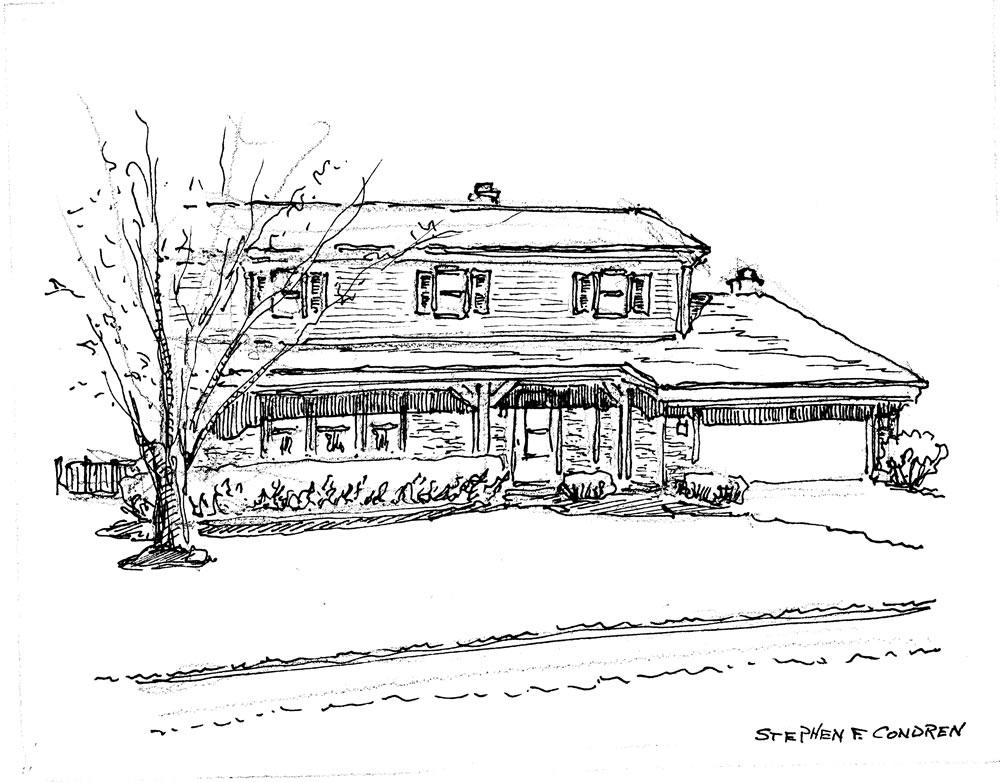 Pen & ink house portrait by artist Stephen F. Condren. Prints are available.