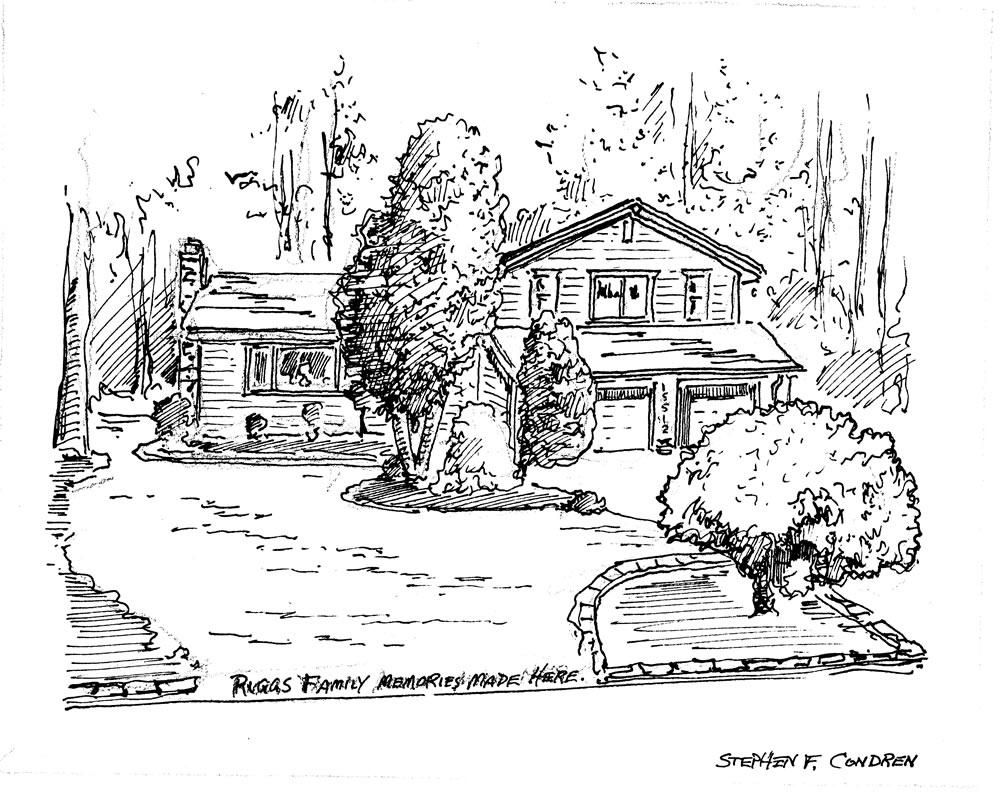 Pen & ink house portrait by artist Stephen F. Condren.