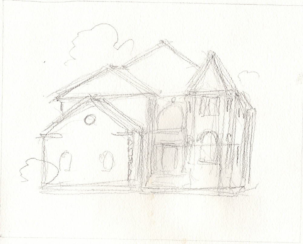 Architectural rendering in pencil.