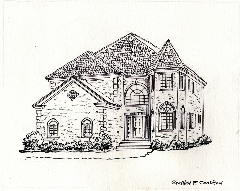 Pen & ink architectural rendering.