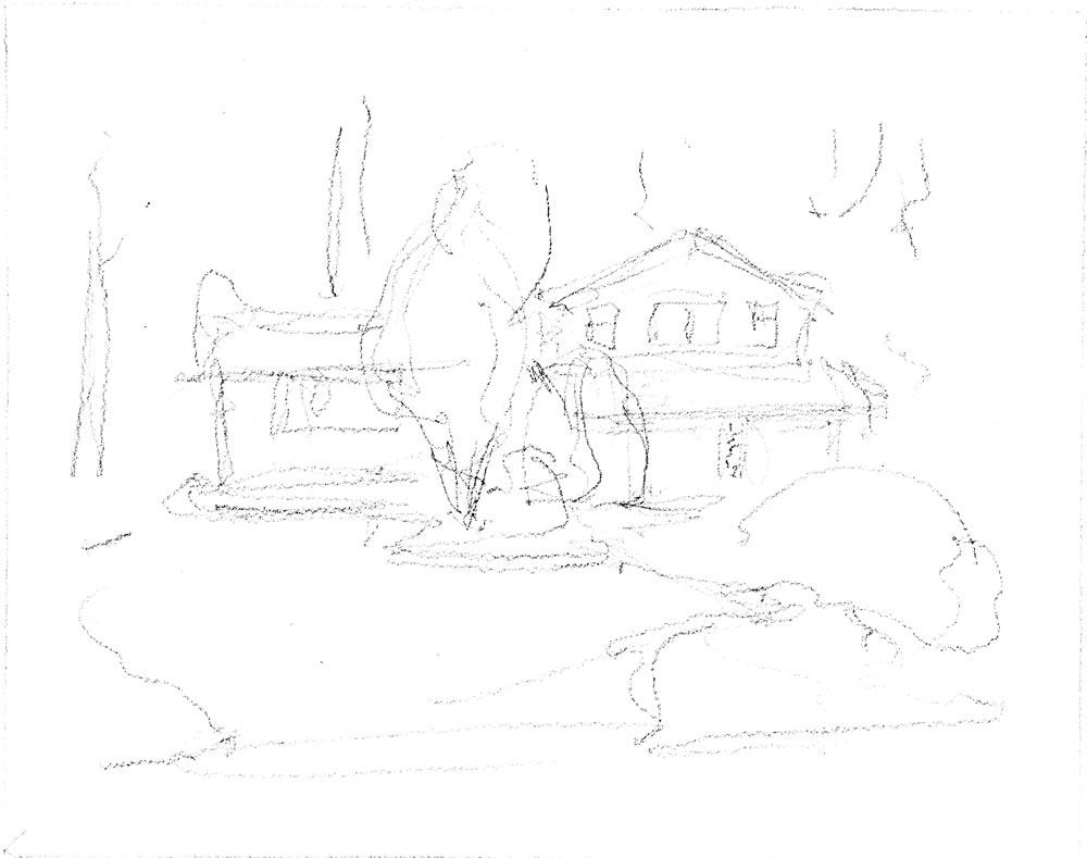 Pencil sketch of a house portrait by artist Stephen F. Condren.