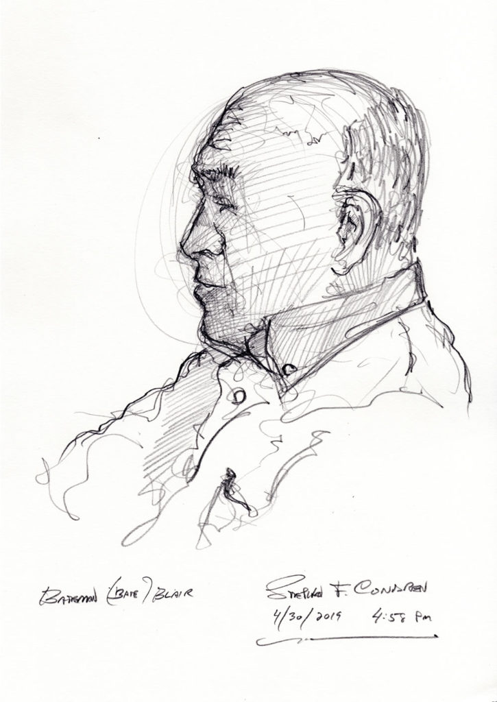 Pencil drawing of Bateman (Bate) Blair, Pilot, Lt. Colonel.