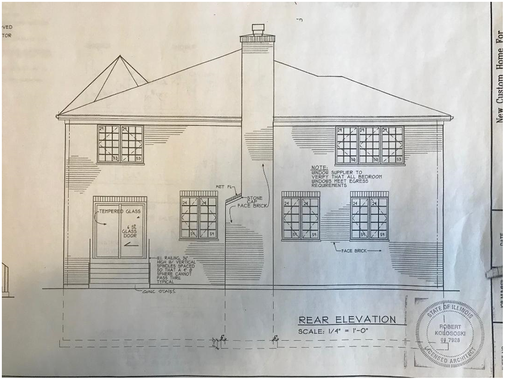 Rear elevation Working Drawing.