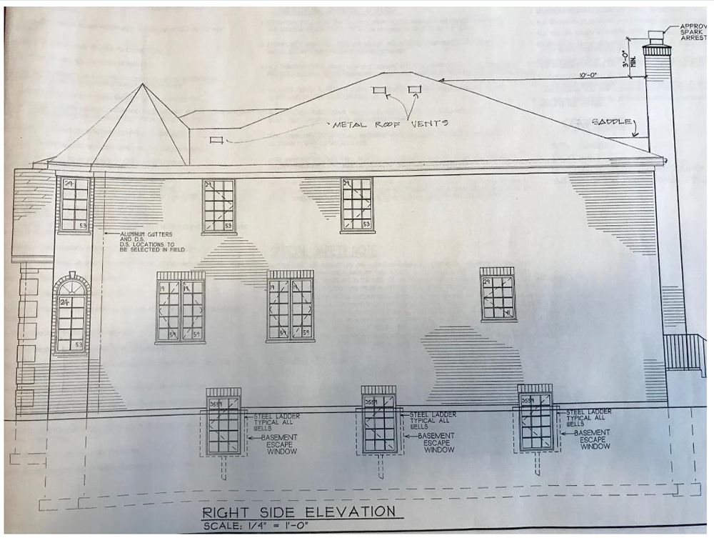 Right elevation Working Drawing.