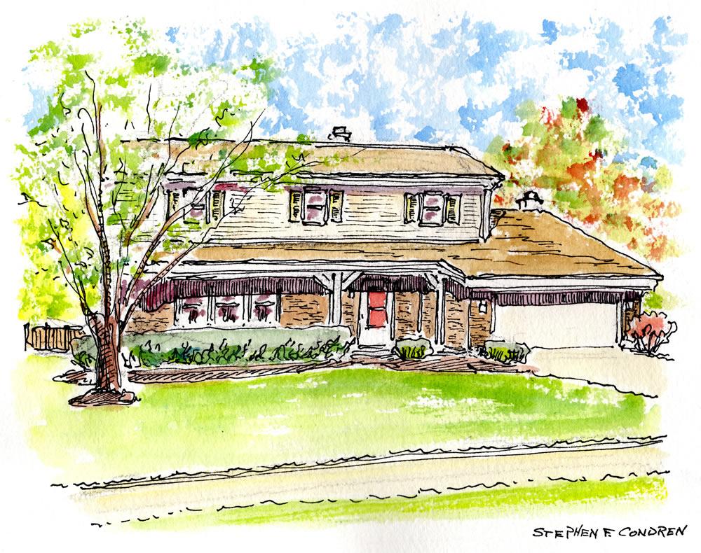 Watercolor house portrait by artist Stephen F. Condren.