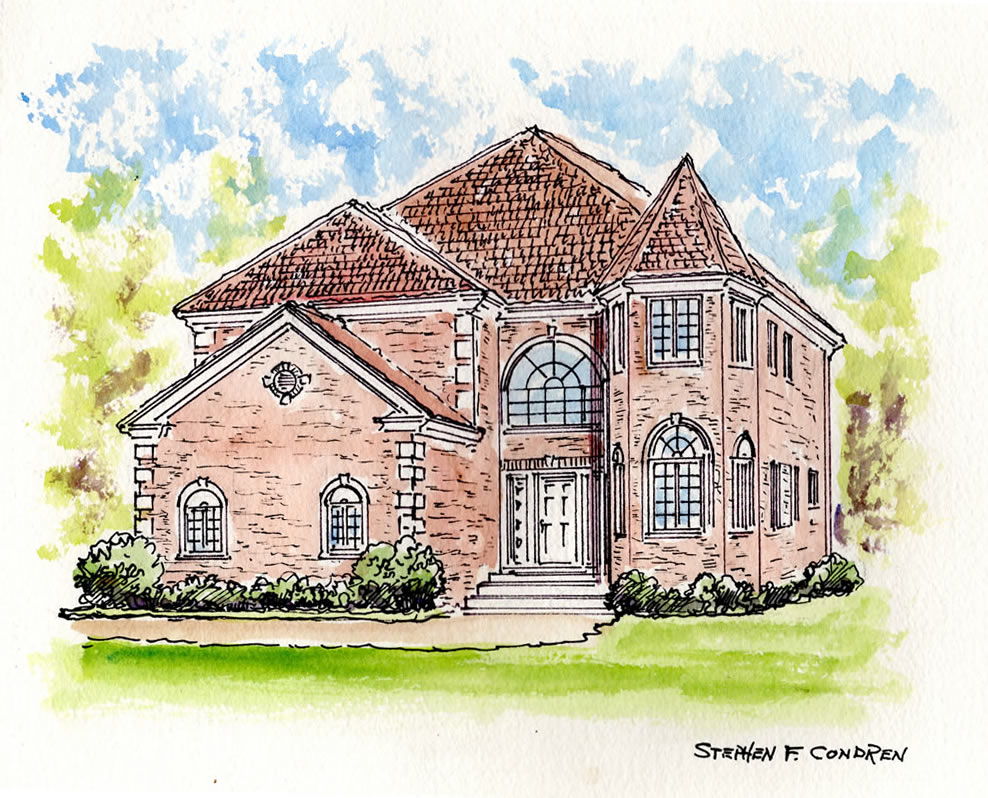 Watercolor architectural rendering #282Z pen & ink drawing with prints by artist Stephen F. Condren at Condren Galleries.