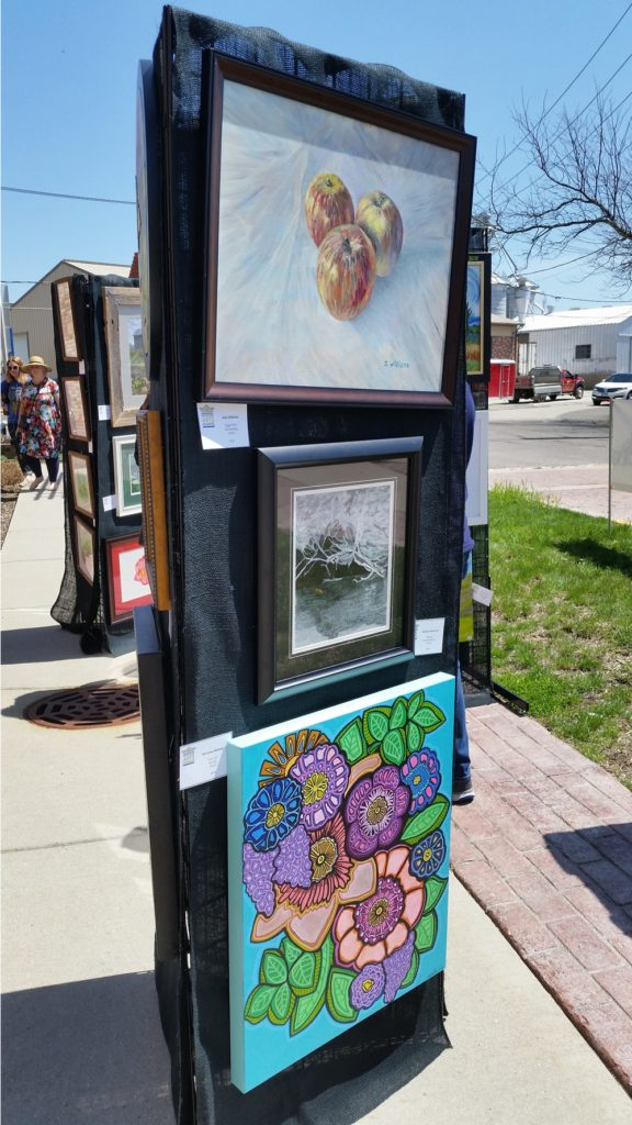 Artwork panels showcasing current works at May Fest. Photograph courtesy of Condren Galleries.