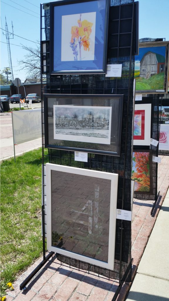 Artwork panels showcasing current works at May Fest. Photo courtesy of Condren Galleries.