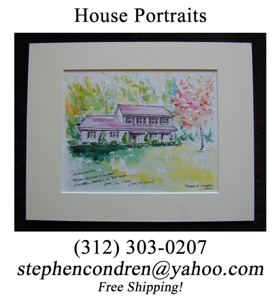 Matted house portrait by artist Stephen F. Condren.