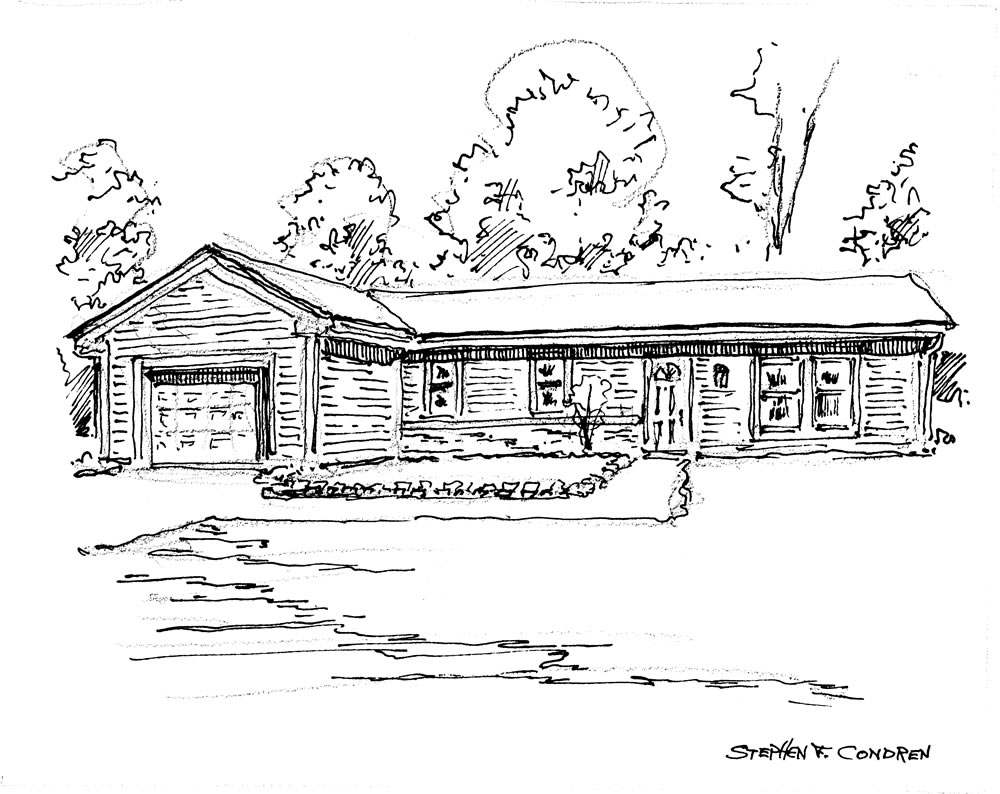 Pen & ink house portrait by artist Stephen F. Condren, with prints and JPEG and PDF scans. Pencil sketch is below the ink.