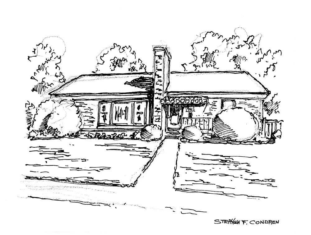 Pen & ink house portrait by artist Stephen F. Condren, with prints and JPEG and PDF scans.