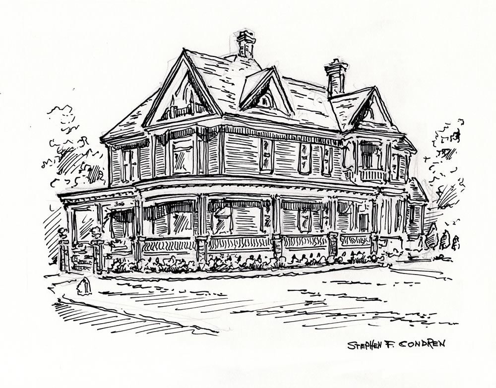 Pen & ink house portrait with prints.