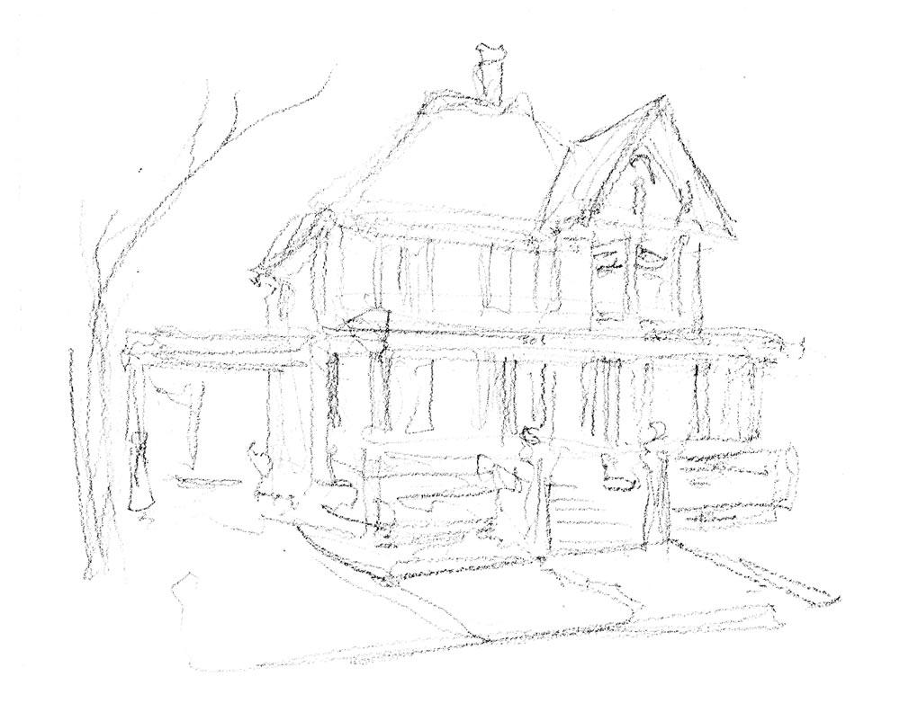 Pencil house portrait by artist Stephen F. Condren.
