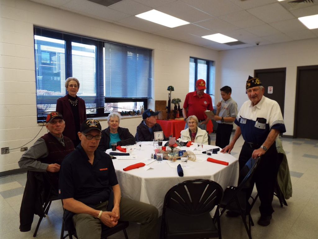 Veterans sitting at Mundelein Police Veterans Dinner.