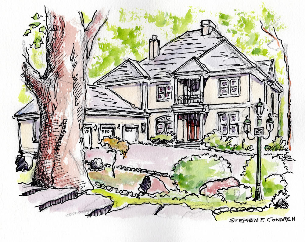 Watercolor house portrait #302Z pen & ink drawing with prints by artist Stephen F. Condren at Condren Galleries.