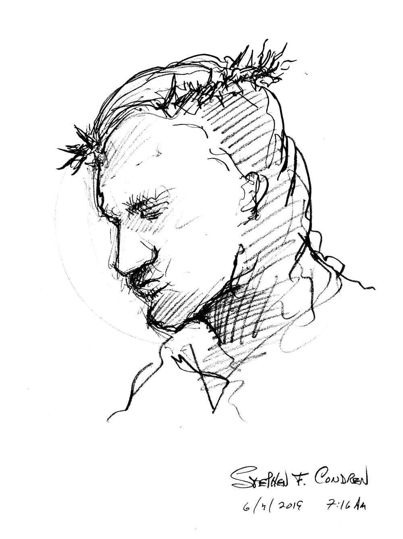 Saint Stephen #298Z, martyr saint pen & ink drawing by artist Stephen F. Condren at Condren Galleries.
