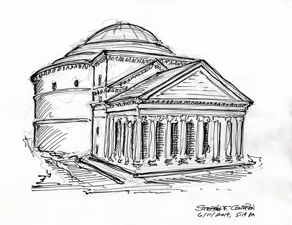 Pen & ink drawing of Pantheon in Rome by artist Stephen F. Condren.