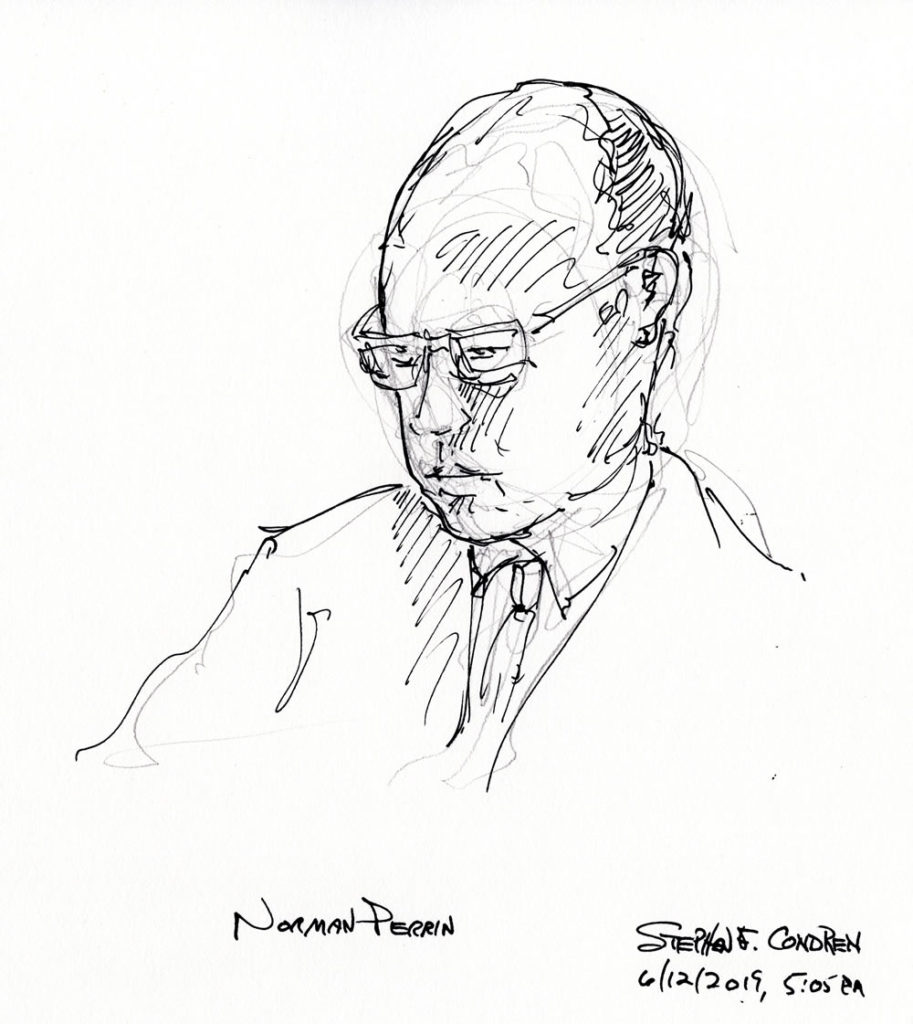 Pen & ink drawing of University of Chicago Divinity School Theologian Norman Perrin.