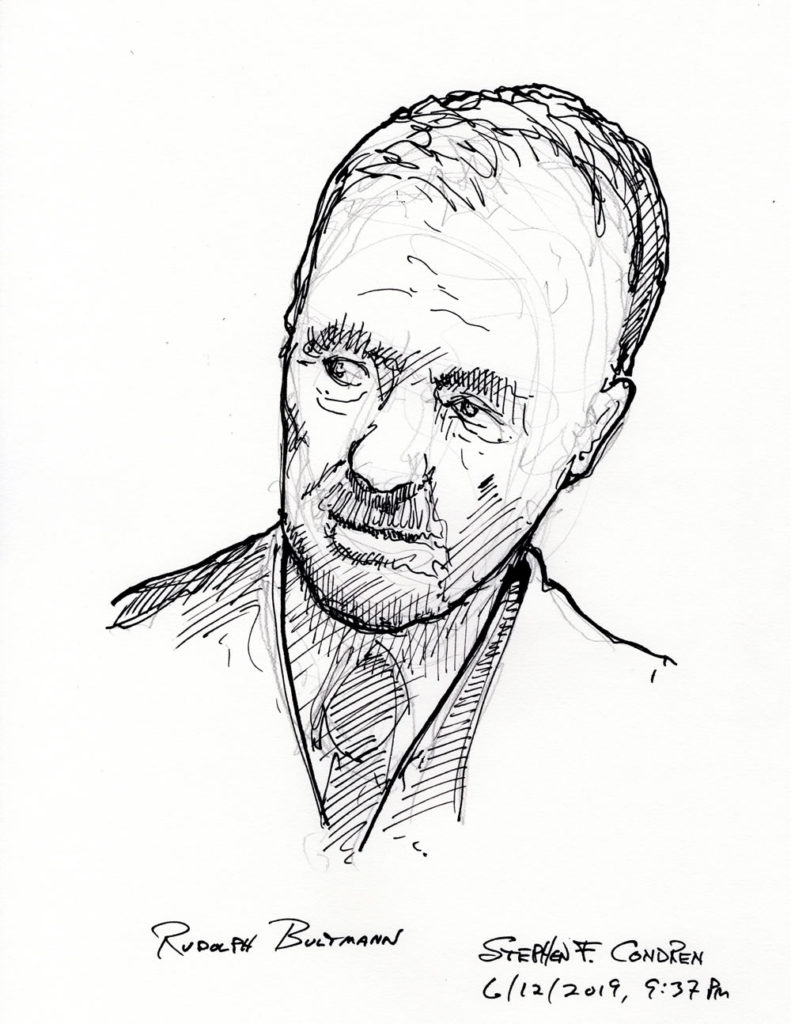 Pen & ink drawing of Theologian Rudolph Bultmann.