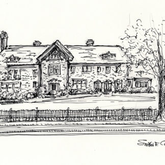 Cheney Mansion pen & ink drawing #5002A and prints by artist and Navy Veteran at Condren Galleries.