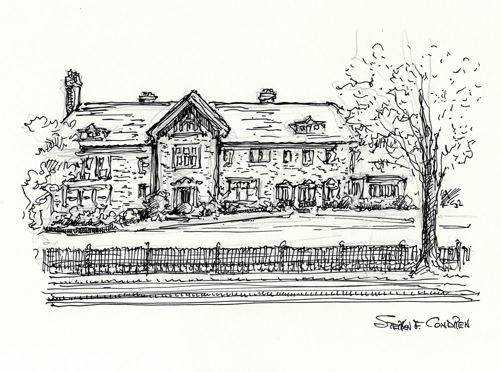 Pen & ink drawing of the Cheney Mansion in Oak Park, Illinois.