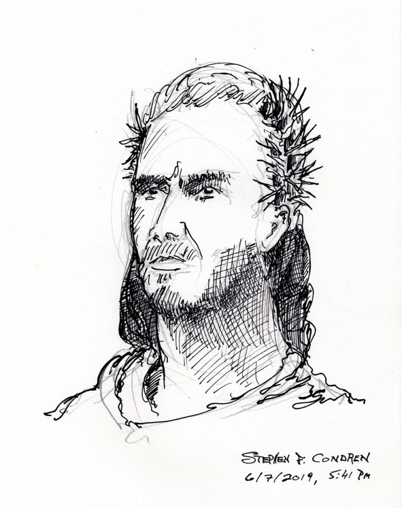 Pen & ink drawing of Jesus Christ crowned with stephanos.