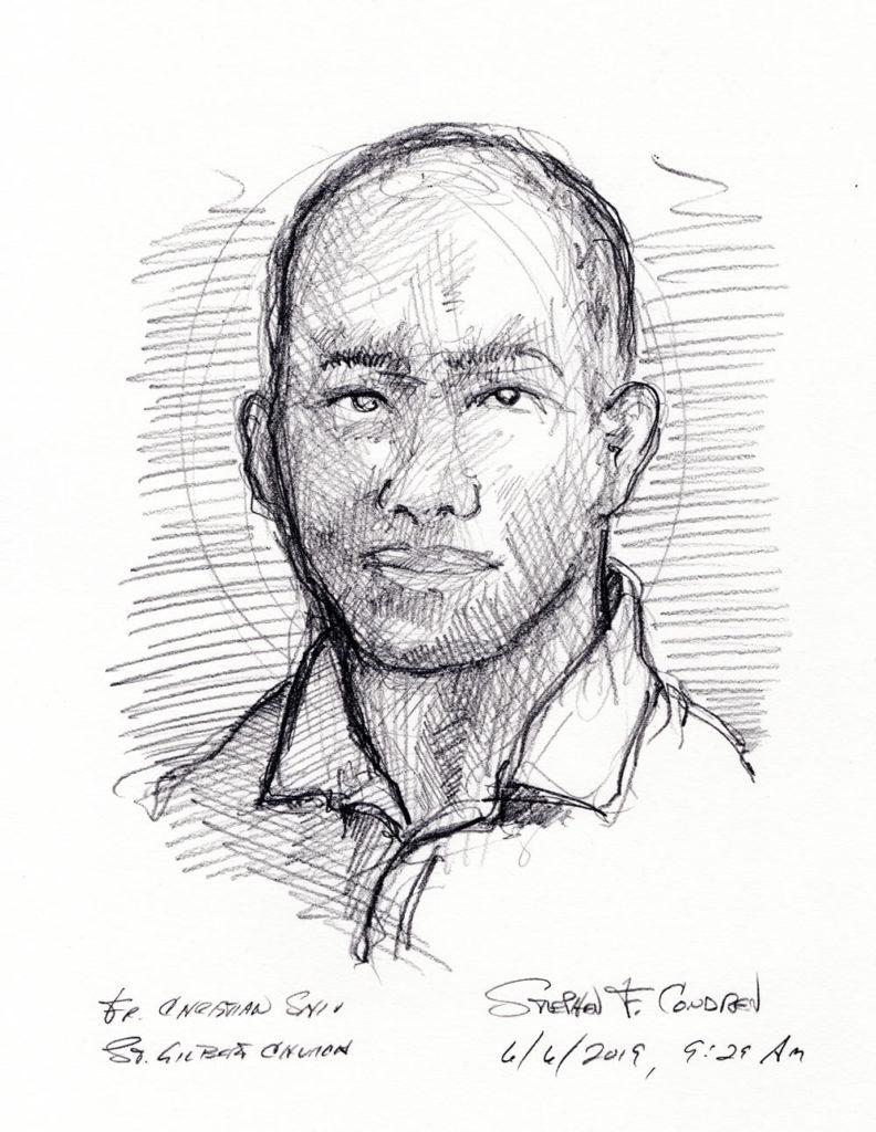 Pencil drawing of father Christian Shiu.