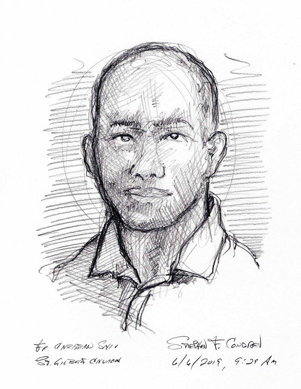 Father Christian Shiu #309Z, Catholic priest Pencil drawing by artist Stephen F. Condren at Condren Galleries.