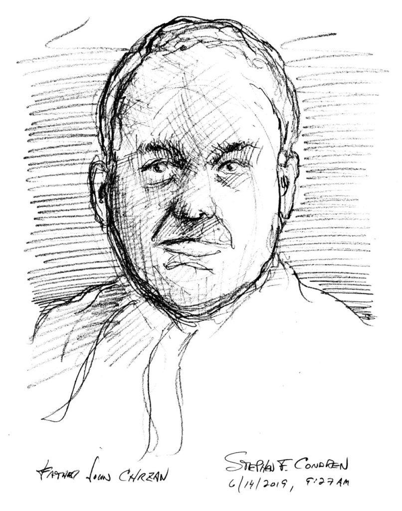 Pencil drawing of Father John Chrzan.