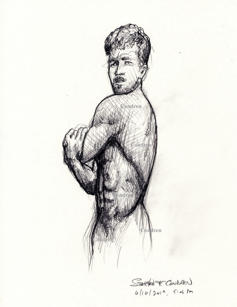 Pencil drawing of a young man by artist Stephen F. Condren.
