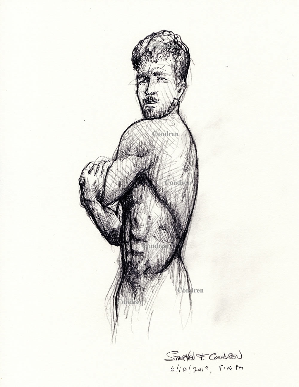 Male figure drawing #000Z, or manly physique sketch with pencil contour lines by artist Stephen F. Condren of Condren Galleries, with gay LGBTQ approved prints, and scans.