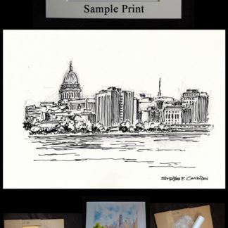 Madison skyline drawing #847A and prints by artist and Navy Veteran at Condren Galleries.
