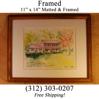 Wood framed house portrait by artist Stephen F. Condren.