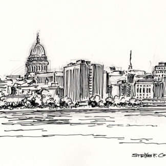 Madison skyline drawing #847A pen & ink cityscape overlooking Lake Monona.