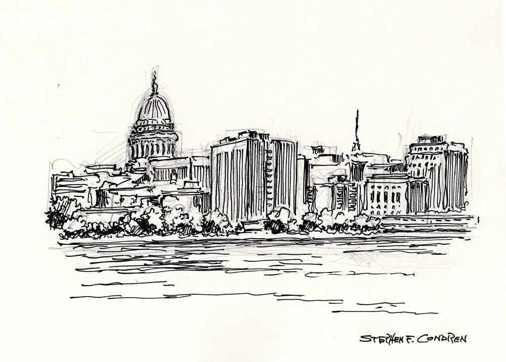 Madison skyline drawing #317Z with prints by artist Stephen F. Condren at Condren Galleries.