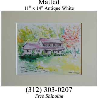 Matted watercolor house portrait.