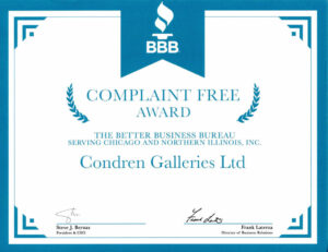BBB Complaint Free Award to Condren Galleries.