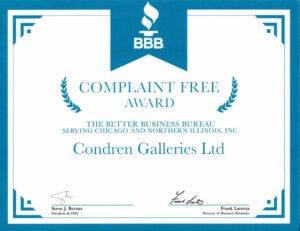 BBB Complaint Free Award to Condren Galleries.