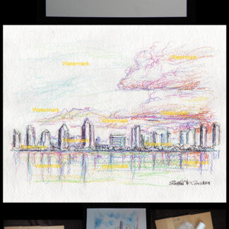 Color pencil and ink skyline of San Diego.