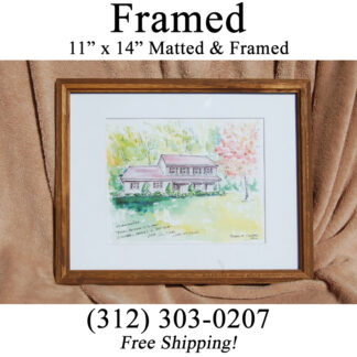 Framed watercolor house portrait.