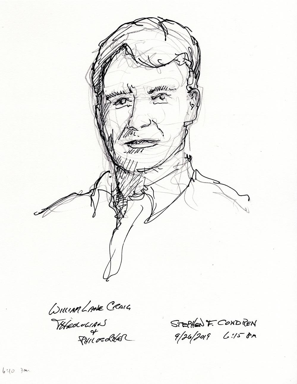 William Lane Craig #405Z pen & ink drawing by artist Stephen F. Condren.