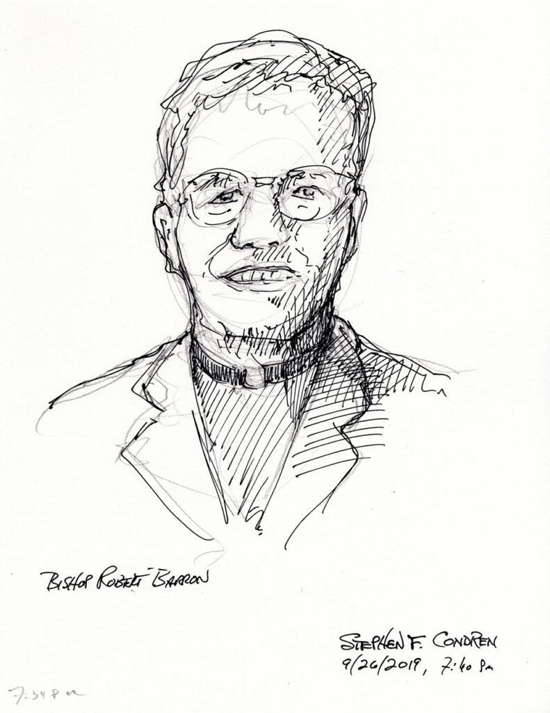 Bishop Robert Barron #406Z pen & ink drawing with prints by artist Stephen F. Condren at Condren Galleries.