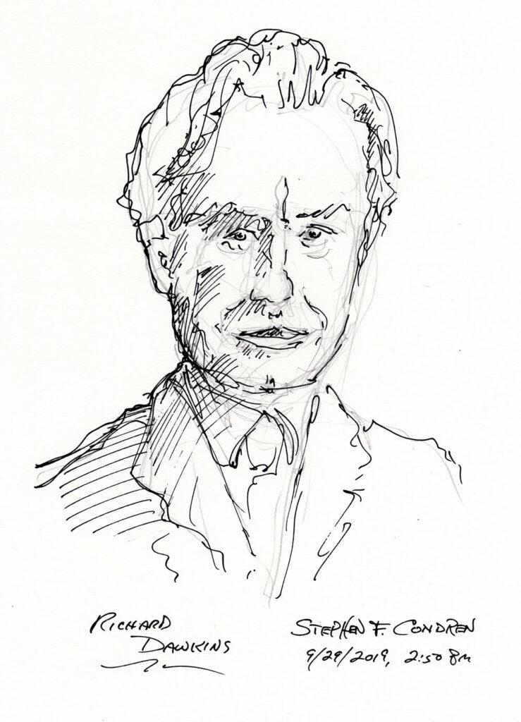 Pen & ink of Richard Dawkins by Stephen F. Condren.
