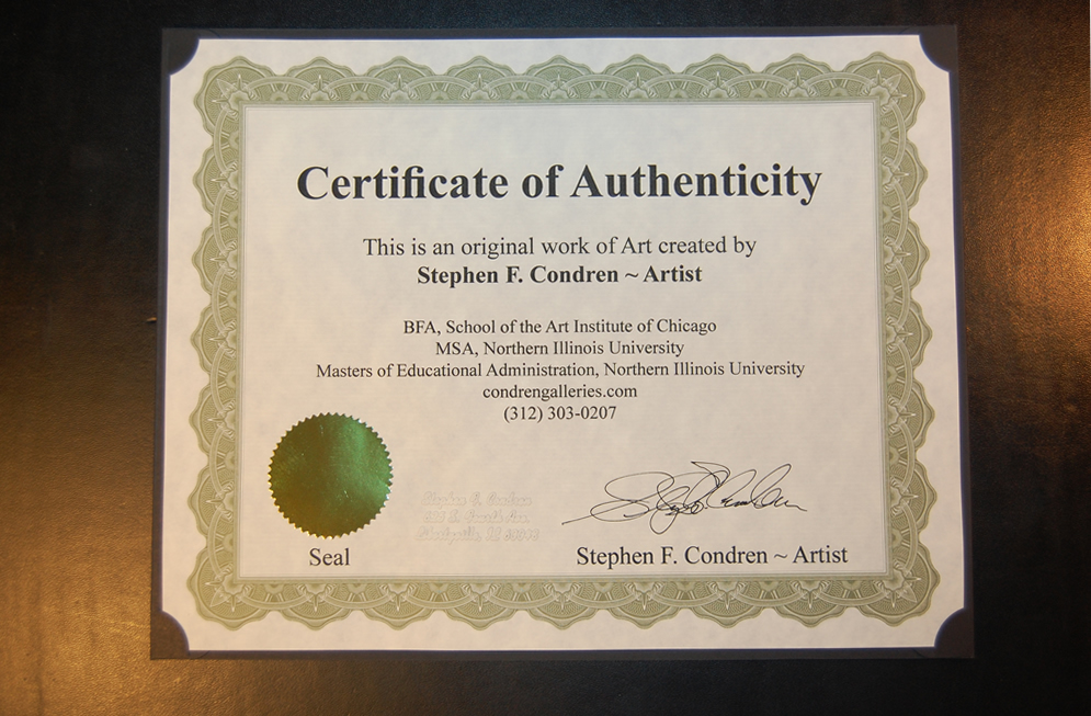 Certificate of Authenticity #531Z, a provenance document photo by artist Stephen F. Condren of Condren Galleries.