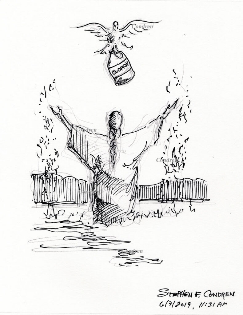 Sinaiticus Redaction Criticism #506Z, pen & ink drawing by artist Stephen F. Condren. Drawing of the Holy Spirit holding a bottle of Clorox over Jesus being baptized.