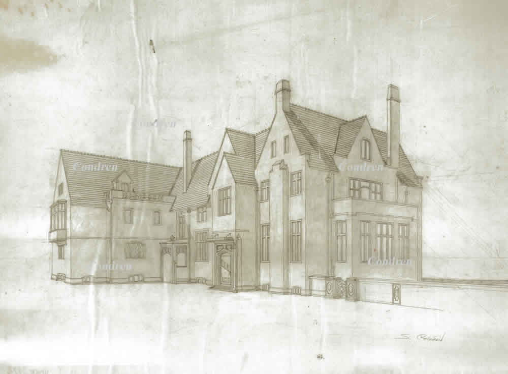 Pencil architectural rendering of the Loeb mansion from the Leopold-Loeb murder trial of 1924 in Chicago, by artist Stephen F. Condren.